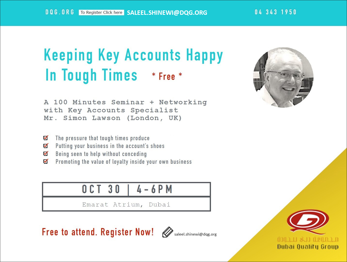 Evening Seminar - Keeping Key Accounts Happy in Tough Times