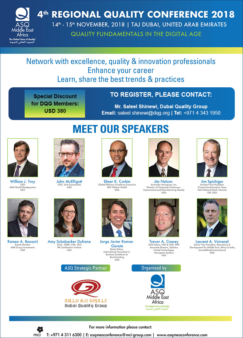 ASQ MEA 4th Regional Quality Conference 2018
