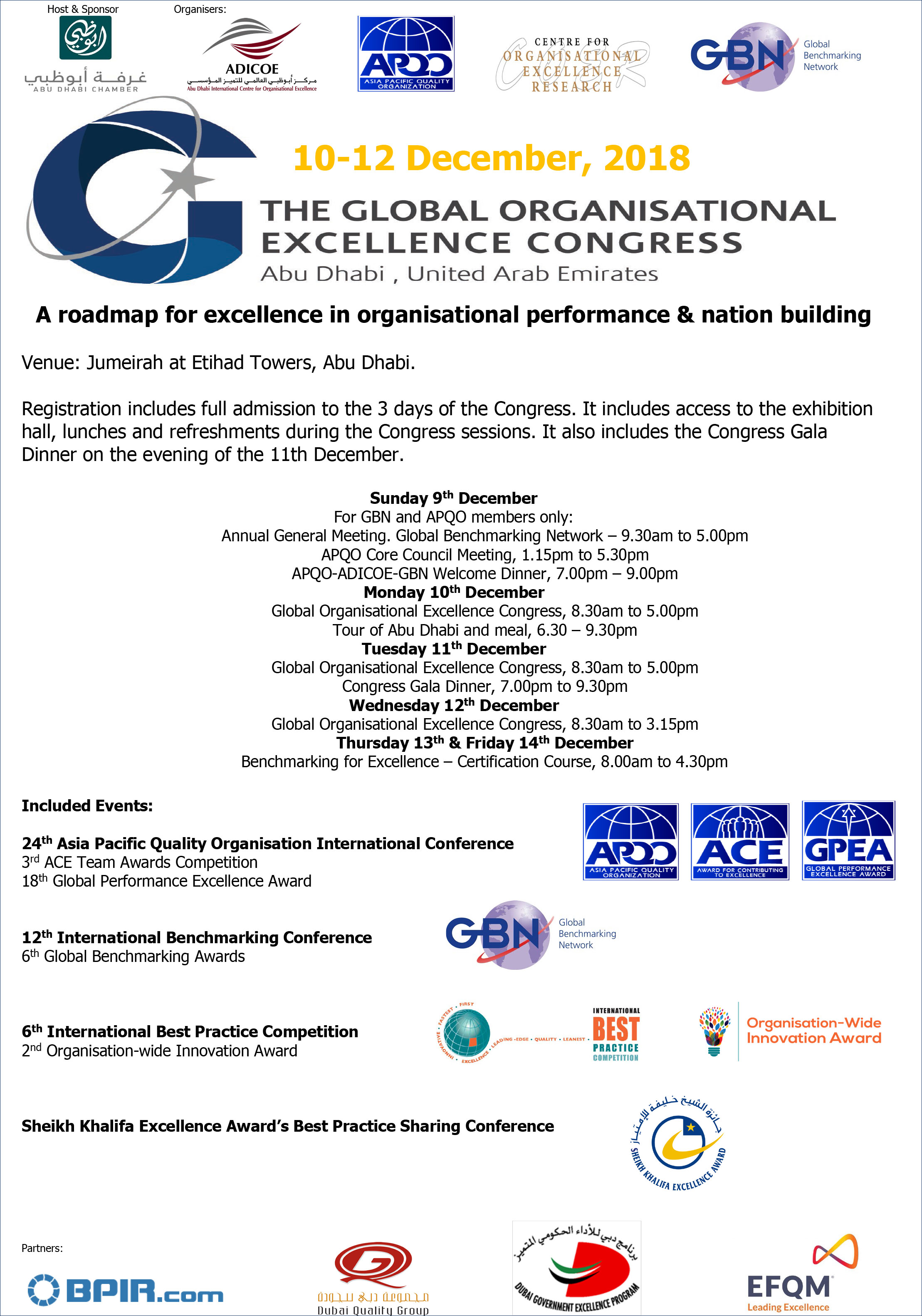 The Global Organisational Excellence Congress | 10-12 December 2018 | Abu Dhabi